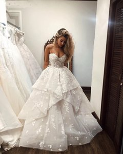 어깨 연인 프릴 플러스 사이즈 공주 신부 드레스 웨딩 드레스 오프 우아한 3D 꽃 플로라 웨딩 드레스 2020