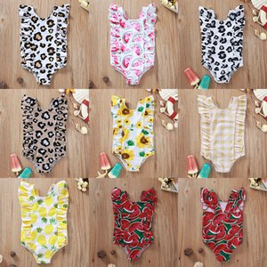 INS Baby One-Pieces ragazze Girasole stampa del leopardo dello Swimwear di estate dei capretti Anguria Costumi Bambino triangolo del bikini del Beachwear Abbigliamento M1795