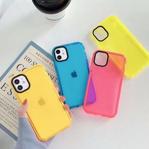 Couleur fluorescente solide Téléphone cas pour l'iPhone SE 11 Pro Max XR X XS Max Plus étui souple IMD clair Phone Housse