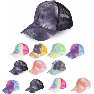 Tie-teints été casquette de baseball de queue de cheval Hat Femme maille automne gradient solaire extérieur bouchon vélo en plein air snapback ressort FFA4203 300pcs
