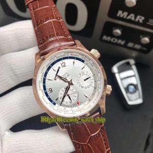 새로운 고품질 마스터 컨트롤 q1522420 화이트 파워 리저브 다이얼 일본 Miyota 자동 남성 시계 로즈 골드 케이스 가죽 스트랩 시계