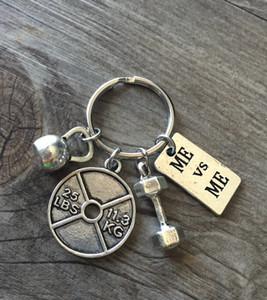 Европа США Новый стиль Популярная жаропрочностью Продажа Спорт серии Штанга Гантели Keyring Keychain Мужчины Женщины Пара ювелирные изделия Лучший подарок