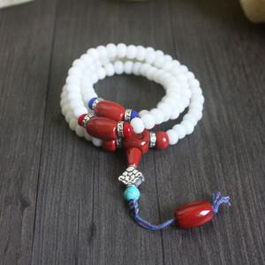 auf Lager Natural White Bodhi Samen tibetischen Buddhismus 108 Mala Perlen Halskette Unisex Gebet Yoga Meditation Lotus Schmuck