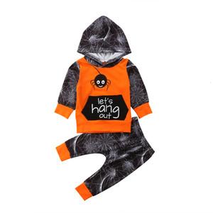Halloween Uk 2pcs recém-nascidos crianças Bebés Meninos Aranha Cotton Hoodies Tops Calças Roupas Roupas