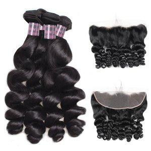 Индийский человеческих волос тела рыхлый глубокий Перуанский человеческих волос Пучки с закрытием бразильская волна воды волос ткет 4шт С 13 * 4 Lace фронтального