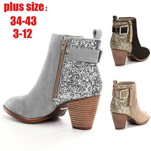 Женщины Блестки ботинка конструктора Пряжка Ботильоны Мода Sexy боковой молнии обувь для дам зимних Combat Boots Большой размер с коробкой