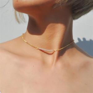 Pirinç boncuklar, altın zincir boyun kolye kolye basit paslanmaz çelik bilye doğum günü tatil hediye kolye