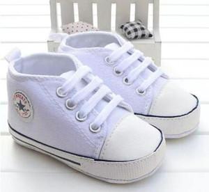 Casual Babys Junge Sportschuhe Lace-up Leinwand Newborn erste Wanderer-Schuhe weiche Sohle Anti-Rutsch-Baby-Hoch Mokassins Sneakers