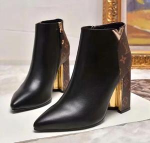 Designeross50 topo qualità tacchi alti Stivaletti in vera pelle Scarpe Donna Martin Stivali Nuovo Autunno Inverno lungo stivali da moto