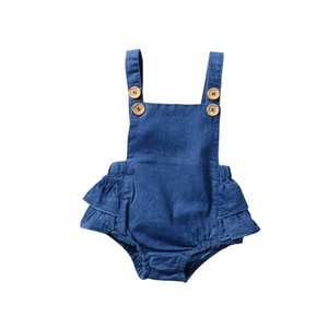 Yeni Bahar Bebek Kız Romper Çocuklar Yürüyor Denim Fırfır Tek parça Tulum Moda Toddler Onesies