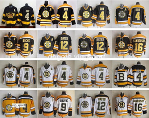 Boston Bruins Jersey Homens 4 Bobby Orr 9 Johnny Bucyk 12 Adam Oates 16 Derek Sanderson Jerseys De Hóquei No Gelo Casa Vintage Preto Branco