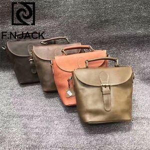 F.N.JACK Mad Cavalo Couro Slant Casual Bag capa do manual Colocar pessoais couro genuíno bolsas mensageiro 2019