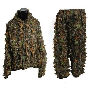 Hunting clothes New 3D maple leaf Bionic Ghillie Suits Yowie sniper birdwatch airsoft Camouflage Clothing jacket and pants T200601
