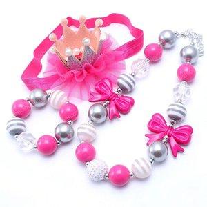 Красивый дизайн NecklaceBracelet оголовье 3шт комплект ювелирных изделий Pink Bow Малыши Девочки Bubblegum Детские Дети Коренастый ожерелье комплект ювелирных изделий