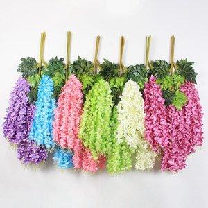 12pcs / set artificiale Wisteria fiore di seta elegante Wisteria vite del fiore denso per la decorazione da giardino di nozze festa feste HA1143