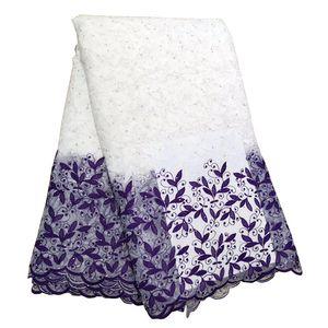 Великолепный Белые Фиолетовый Lace ткань для африканской Нигерии Девушки Свадебных платьев партии вечера шнурок Материал с бисером BF0032