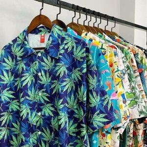 Hawaii beach flower couple shirt short-slow lose Large size slim harbor style retro handsourcing men's clothing