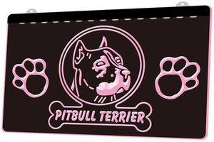 Ls0640 0 Pitbull Terrier Dog Pet Shop Rgb Multiple Couleur télécommande Gravure 3D Led Neon Light Inscrivez-vous Boutique Bar Bar Club