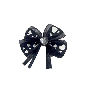 New design Pet dog hair bow pet supplies black lace heart crystal hair clip free shipping
