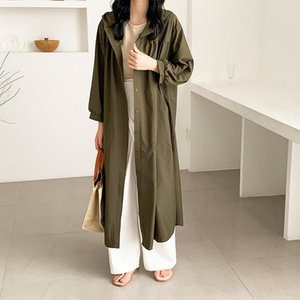 2019 autumn chic style loose thin solid color lapel hooded bubble dress sleeve single-breasted loose dress