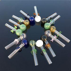 Pipa di vetro Pipa per il fumo Bruciatore di olio Vetro Narghilè Colori diversi Tubi di acqua per fumo di tabacco Spedizione gratuita