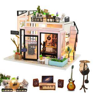 1: 12 dollhouse studio diy wooden doll house with radio bass supplies miniaturas house kast fiture kit casa de juguete Y200413