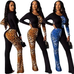BKLD pagliaccetti delle donne tuta 2019 di modo di autunno Pelle di leopardo Clubwear Nuovo Patchwork manica lunga Pantaloni Flare tute delle donne
