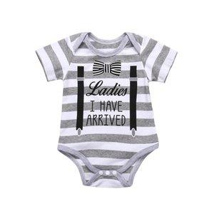 0-18M Newborn Baby Boy Short Sleeve Gentleman bow tie Striped Print Cotton Romper Jumpsuit Outfits Summer Clothes