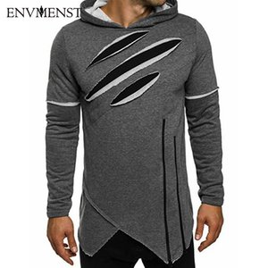 Envmenst New Arrival Free Shipping Fashion Men's Long Black Hoodies Sweatshirts Zip Longline irregular Hip Hop Streetwear Shirt
