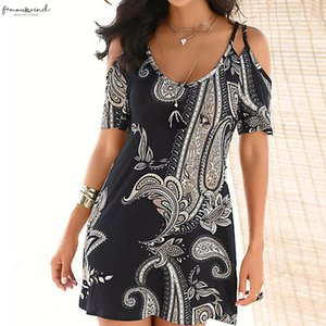 New Fashion Spring Summer Womens Short Sleeve Print Fashion Dress Ladies Holiday Strap Strapless Shoulder Above Knee Mini For Female