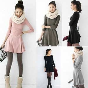 Mujeres coreanas del estilo suave llana sólida de manga larga Mini vestido Moda