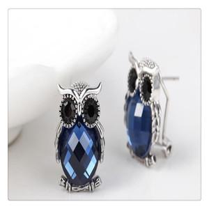 Moda Simples Owl Ear Studs Com Artificial Gem animal Brincos para as mulheres liga de alta qualidade confortável de usar