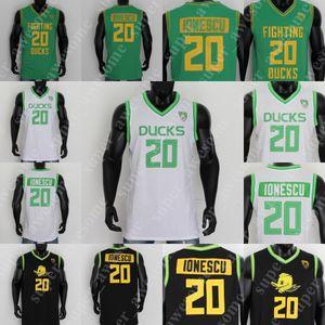 NCAA 20 Sabrina Ионеска Джерси Орегон Дакс баскетбольного Белый Зеленый Черный Желтый прошитой