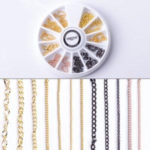 Nail Cadena Rueda del arte de Metal hueco decoración de la joyería accesorios de bricolaje línea de tira Diseño punky 3D Consejos polaco ULTRAVIOLETA del gel Herramientas de manicura