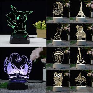3D Lâmpada LED Criativo 3D Luzes LED Noite Novidade Ilusão Night Lamp Ilusão 3D Lâmpada de Mesa Para Casa Decorativa