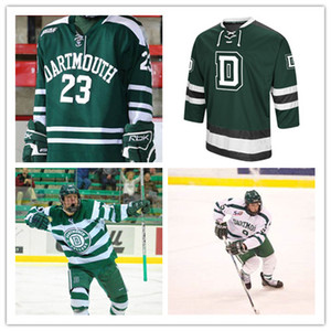 Custom Men's Dartmouth Big Green Hockey Jerseys White Green 100% Stitching Custom Any Name Number Hockey Jerseys