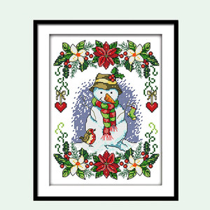 Muñeco de nieve de navidad Patrón de Dibujos Animados Punto de Cruz Contado 11 14CT Kits de bordado DIY Costura DMC Pequeño regalo Pintura Pintura de la pared Decoración