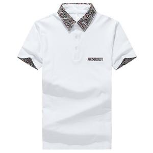 Homens Verão Casual Shirt Floral Cotton Fique Collar manga curta Camisas Camisas Polo Sólidos Magro Mens Polos 3XL frete grátis