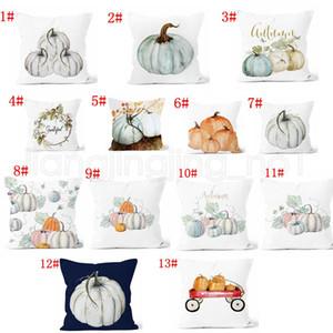 13styles Kürbis Printed Kopfkissenbezug Halloween Weihnachtsdekoration Baumwollmischung Kissenbezug Startseite Sofa-Auto-Dekor ohne Kern 45 * 45cm FFA2736