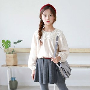 New Autumn Children T-shirt Kids Fashion Lantern Sleeves Girls Lace Tops Baby Tee Shirt Toddler Tops Cotton,#3167