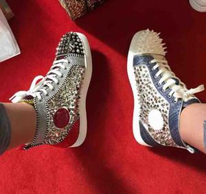 2019 Yeni Fabrika Toptan Hakiki Deri Pik Spike Sneakers Kırmızı Alt ayakkabı Yüksek Üst Erkekler Rahat Yassı Ayakkabı Kırmızı Tek Ücretsiz Kargo