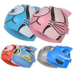 New Kids Crianças Cap Swim Waterproof Animal dos desenhos animados Piscina Praia Silicone Caps Hat Natação Esportes aquáticos Ears Proteger muito para cabelo