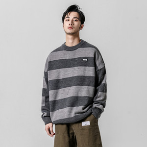 Yasword Wool Sweater Men Horizontal Stripes Autumn Fashion Round Neck Long Sleeve Knitted Pullover Man Sweatcoat Male Tops T190914