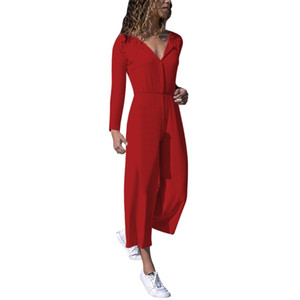 Womens Jumpsuit cuello en V manga larga pierna ancha Casual Button Jumpsuit Playsuit Mujeres Mamelucos Ropa Fiesta Holiday Beach