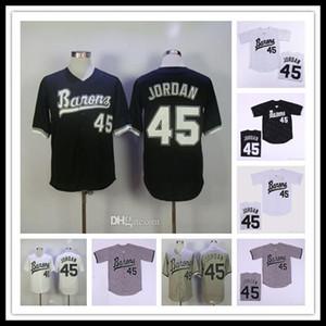Männer Günstige Birmingham Baron 45 Michael MJ Film Baseball Genäht Trikots Alles genähtes Sport Shirts Größe S-4XL Schwarz Weiß Grau-freies Verschiffen