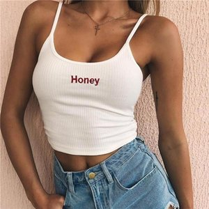 Elastic Shirt Vest Camisole Sexy Women Crop Top Summer Honey Letter Embroidery Strap Tank Cropped Feminino Ladies