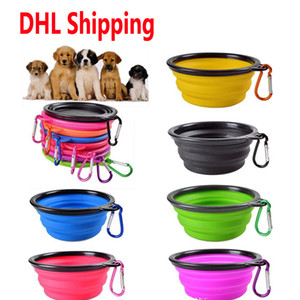 DHL Shipping Travel Collapsible Dog Cat Feeding Bowl Two Styles Pet Water Dish Feeder Silicone Foldable Bowl With Hook Non Slip