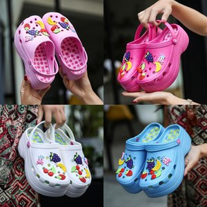 Women Summer Fashion Fruit Decor Beach Platform Sandals Shoes Wedges Slipper Candy Colors Girls 4 Color New