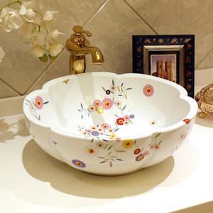 Blumen-Form China Handgemachte Lavabo Keramik Waschbecken Europa Luxurious Künstlerische Waschbecken Fuß Waschbecken
