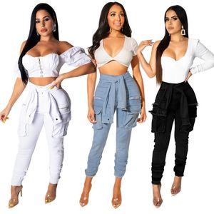 Kadınlar İnce Stretch Denim Jean BODYCON Sahte Kol Kemer Bandaj Skinny Push Up Jeans Popüler Sokak Kargo Jeans Yüksek Bel Kot